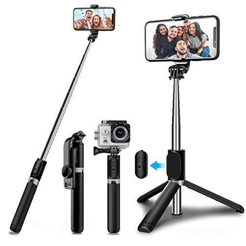 SYOSIN Selfie Stick Tripod with Wireless Remote, Mini Extendable 4 in 1 Selfie Stick (103cm) - 360° Rotation Phone Stand Holder Compatible with Action Camera, iPhone/Samsung/Huawei Smartphones