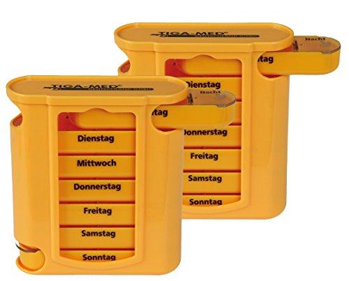 Medikamentendosierer orange Tablettenbox 2er Set (=2Stück) Tablettendosierer Pillendose 7 Tage Medikamenten Dosierer Original Tiga-Med Qualität
