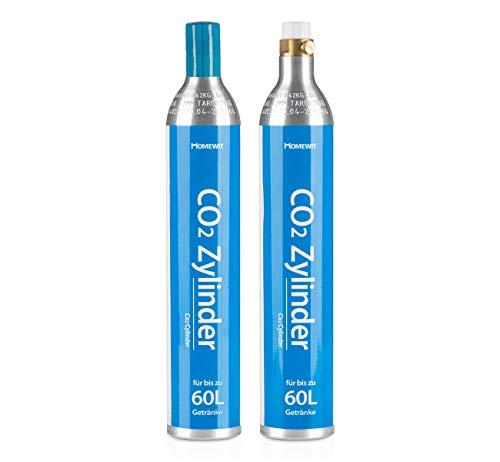 Homewit 2X CO2 Zylinder | erstbefüllt in Deutschland | Pro Füllung bis zu 60 L Sprudelwasser | geeignet für SodaStream(z.B. SodaStream Crystal, Easy, Power & Cool) Wassersprudler usw.