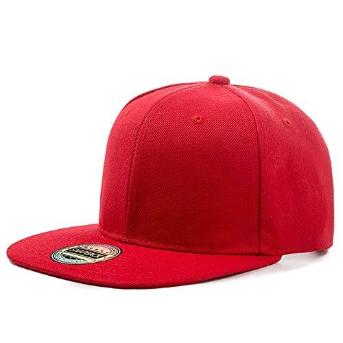 1 Uds Gorra Unisex Lisa Snapback Sombrero Adultos Hip Hop Gorra de béisbol Hombres Mujeres Ocio al Aire Libre Sombrero Plano de béisbol-Red-54cm-62cm