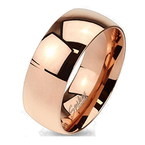 Bungsa 54 (17.2) Titan Ring Rosegold Damen - Ring aus rosé-Goldenem Titan für Damen & Herren - roséfarbener Damenring/Herrenring - SCHMUCKRING für Frauen & Männer roségold Titanium