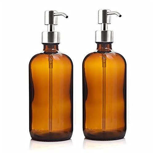 FIRMLEILEI 16 ozs Botella de Bomba de Vidrio ámbar Grande 500 ml del dispensador de jabón líquido con Bomba de loción de Acero Inoxidable para lociones caseras detergente Botella contenedor