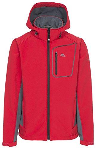 Trespass Strathy II, Red, M, Wasserdichte Softshelljacke mit abnehmbarer Kapuze für Herren, Medium, Rot