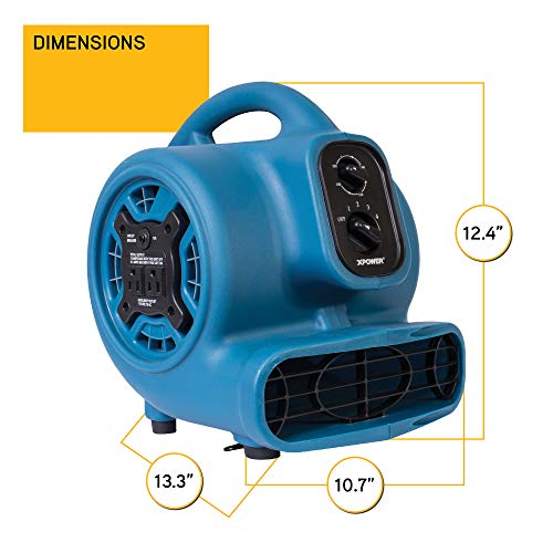 XPOWER P-230AT Mini Mighty Air Mover Utility Blower Fan with Built-In Power Outlets, Blue