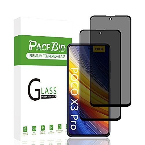 PaceBid 2 Pack Protector de Pantalla de Privacidad Compatible con Poco X3 Pro, [Cobertura Completa] [Anti-arañazos] [ Case Friendly] Dureza 9H Anti-Espía Cristal Vidrio Templado para Poco X3 P