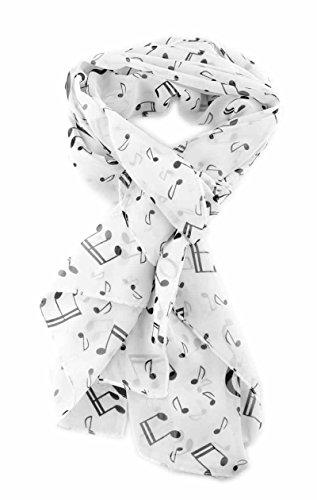 mugesh Chiffon - Schal Notenmix weiß - Schönes Geschenk für Musiker