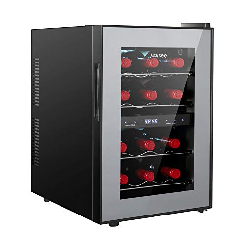 Dual Zone Wine Cooler, Maisee 12 Bottles Mini Small Wine Cooler Refrigeartor Chiller Fridge 45f-65f for Reds Whites Wine Champagne Sparkling in Home Bar Office Kitchen Bedroom Countertop (12 Bottles)