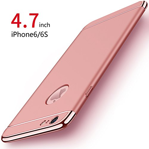 Funda iPhone 6/6s, PRO ELEC Carcasa iPhone 6 / 6s con [ Protector de Pantalla de Vidrio Templado ] 3 en 1 Desmontable Ultra Delgado Anti Arañazos iPhone 6 Funda Protectora   4.7 Pulgada   Oro Rosa