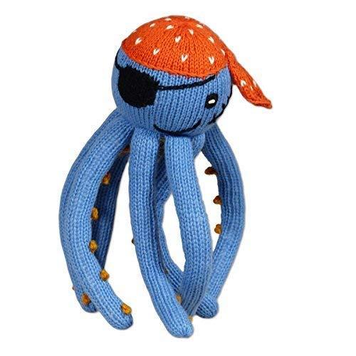 Chill n Feel Beruhigendes Kuscheltier Krake, Blau/Orange, Oktopus, Pirat mit Augenklappe, Captain Jack, 23cm, Bio-Baumwolle, Fairer Handel, Handmade