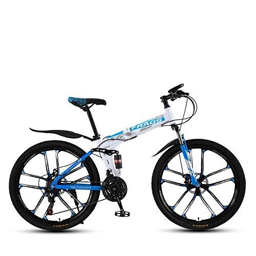 DGAGD Bicicleta de montaña de Velocidad Plegable de 26 Pulgadas Bicicleta de Diez Ruedas Masculina y Femenina-Blanco Azul_24 velocidades