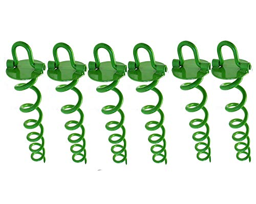 Ashman 16 Inch Spiral Ground Anchor Green Color - Ideal for Securing Animals, Tents, Canopies, Sheds, Car Ports, Swing Sets (Pack of 6)