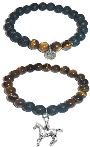 Hidden Hollow Beads Charm Tigers Eye and Black Lava Natural Stone Women's Yoga Beaded Stretch Bracelet Set. Comes in A Gift Box! (Horse)
