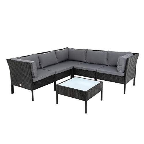 ESTEXO Polyrattan Lounge Set Rattan Gartenmöbelset Gartenset Sitzgruppe Gartenlounge Tisch Hocker Sofa Couch Essgruppe Gartenmöbel Lounge-Set (Schwarz)