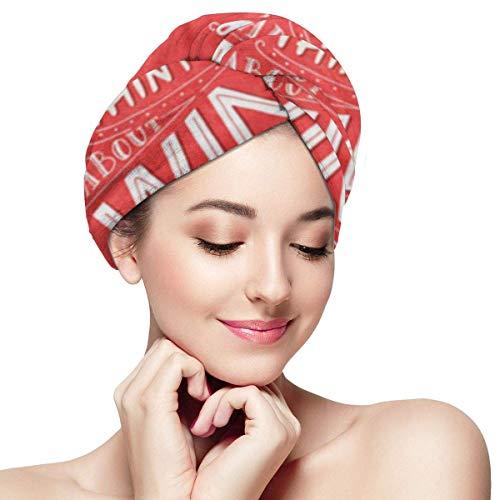 XBFHG Mikrofaser-Handtuchwickel für FrauenSchnelle trockene Haarkappe mit Knopf - Jeder andere, der gerade an Wein denkt Lustiges Sprichwort