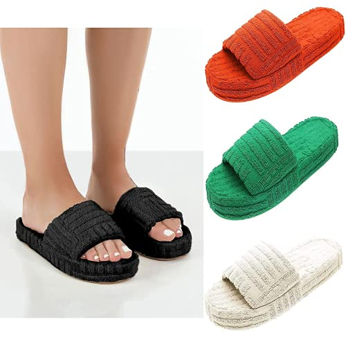 Women s Terry Towelling Slider Slippers, Memory Foam Slip On Open Toe House Slippers, Women Orthopedic Comfy Premium Slippers, Fuzzy House Slippers with Arch Support (8,Black)