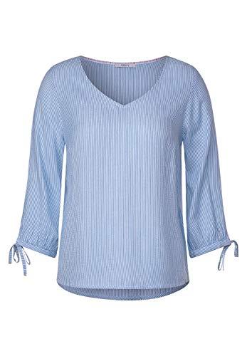 Cecil Damen 341988 TOS Seersucker V-Neck Bluse, Blouse Blue, Small