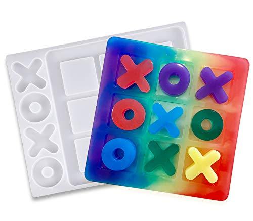 Moule en silicone en résine - Tic Tac Toe Game Board et X O - Moules en silicone époxy - Moules à bricoler - Moules en résine époxy - Moules pour artisanat ornements et fabrication de bijoux