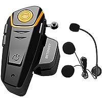 1x BT S2 Intercomunicador Casco Moto, BETOWEY 1000m Bluetooth Headset Motorcycle Intercom Manos Libres Moto Auriculares (Paquete 1, Micrófono Duro)
