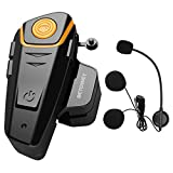 Motorbike Intercom BETOWEY BT-S2 Helmet Bluetooth Headset Motorcycle Wireless Intercom 1000m Communication System Waterproof, Stereo Music, FM Radio, GPS (1 Pack with Hard Microphone)