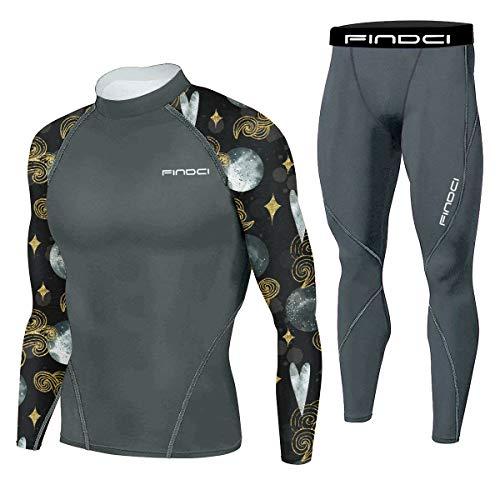 Findci Ropa deportiva ajustada para hombre, entrenamiento en el gimnasio, correr, camo, ropa deportiva exclusiva, entrenamiento en interiores, 2 unidades / SET16, L