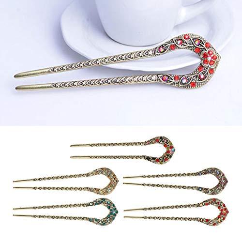 Baoblaze 5 Stück Vintage Haar Sticks, Damen Haar Stäbchen Strass Haarnadel Haarstock Haarclip Haargabel für Haar