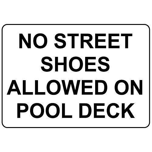 """Notice Sign Safety Sign Warning Sign 12""""x16""""No Street Shoes Allowed On Pool Deck,Best in Metal Sign Retro Home Decoration for Bar Pub Home Activity Sign Campground Signs Parksign"""