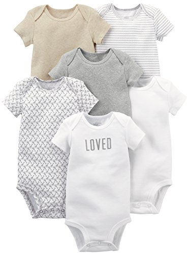 Simple Joys by Carter's Baby 6-Pack Neutral Short-Sleeve Bodysuit, White/Gray, 24 Months