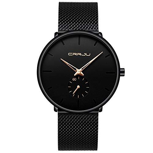 Uhren CRRJU Mode-Männer Uhr-Spitzenmarken Quarz-Uhr-Männer beiläufige dünne Ineinander greifen Stahl wasserdicht Sportuhr Relogio Masculino Asun (Color : 2150 Black Rose)