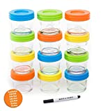 Glass Baby Food Storage Containers - Set contains 12 Small Reusable...