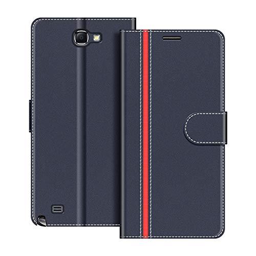 COODIO Funda Samsung Galaxy Note 2 con Tapa, Funda Movil Samsung Note 2, Funda Libro Galaxy Note 2 Carcasa Magnético Funda para Samsung Galaxy Note 2, Azul Oscuro/Rojo