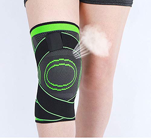 Rodillera deportiva para hombre, con correa ajustable de presión, ortopédica, unisex, para deportes al aire libre o ejercicios de fuerza (verde, L)