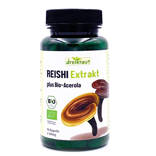 Bio-Reishi-Extrakt dreikraut, 90 Kapseln, 30% Polysaccharide, deutsche Herstellung, kontrollierte Qualität