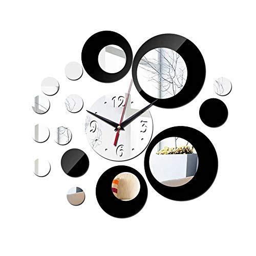 Rosepoem Reloj de pared redondo reloj de pared DIY reloj de pared espejo reloj de pared de diseño moderno extraíble acrílico 3D espejo pared sala de estar dormitorio oficina decoración