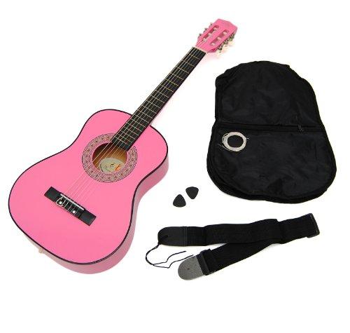 Ts-Ideen 5251 - Guitarra acústica infantil 1/4 (para 4-7 años aprox, con funda, correa, cuerdas y púa), color rosa
