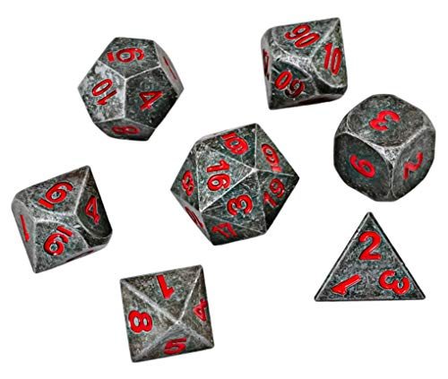 Blacksmith Craft Dice DND Dice Set 7 PCS - Metal Dungeons and Dragons Polyhedral Dice Set with D&D Dice Bag for RPG Gaming - Includes D20 - Blacksmith Craft Dice (Chaos Red)