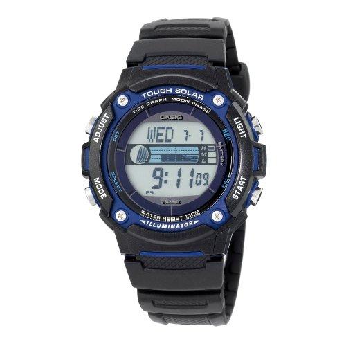 Casio Men's Solar Powered Japanese-Quartz Watch with Resin Strap, Black, 23 (Model: EAW-W-S210H-1AV)