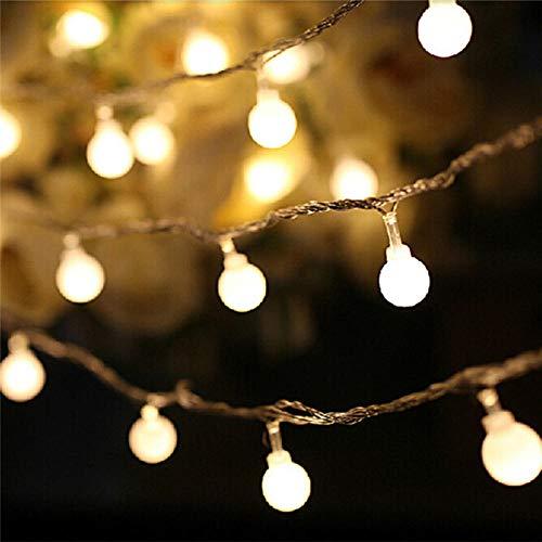 Guirnalda 3M 5M 10M Batería AA LED Bola Luces de Navidad Luces de interior Guirnalda en baterías Boda Decoración de Navidad luz-Warm_White_6M_40Leds