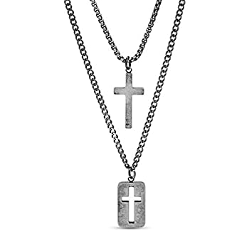 Steve Madden 28  Oxidized Stainless Steel Box and Curb Chain Cross Pendant and Dogtag Duo Necklace Set For Men