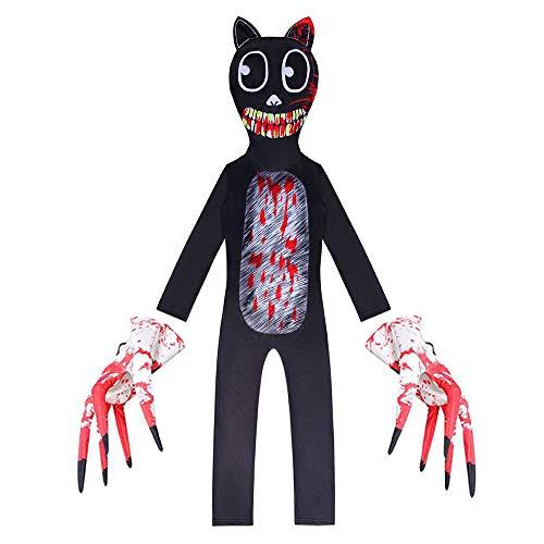 Cartoon Cat Cosplay Kostüm Halloween Horror Monster Rollenspiel Jumpsuit Cosplay Karnevals Party Fasching Weihnachten Skostüm für Männer Jungen