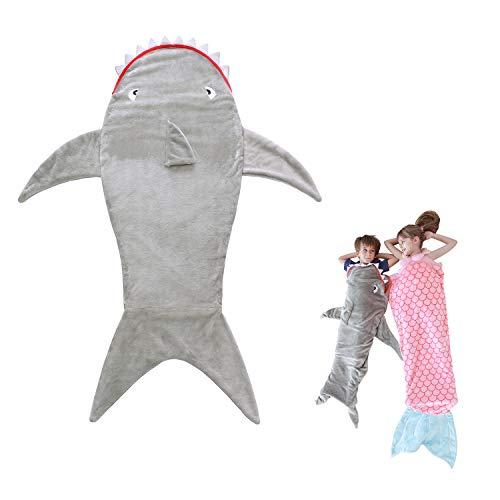 LAT LEE AND TOWN Krokodil Hai Schwanzflosse Kuscheldecke Meerjungfrau Schlafsack Schlafdecke Flanell Decke Geburtstagsgeschenke für Kinder Mädchen Junge (Hai)