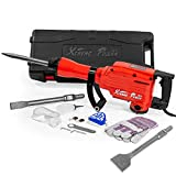 XtremepowerUS 2200W Electric Demolition Jack Hammer 55 ft/lbs Concrete Breaker w/Scrap Point Bull Chisel with Carrying Case
