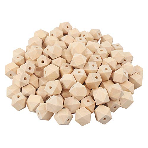 120 Piezas Abalorios Madera Geométricas Naturales, 15 mm Cuentas de Madera sin Pintar para Manualidades DIY Intervalo de Madera Madera Beads para Hacer Joyas