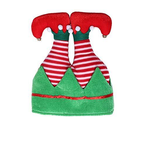 RENNICOCO Sombrero de Duende navideño, Sombrero Divertido de Santa So