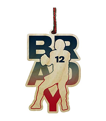 Hat Shark Football Sports Athletic Player Engraved Printed Wooden Christmas Ornament Gift Seasonal Decoration (Brady #12)