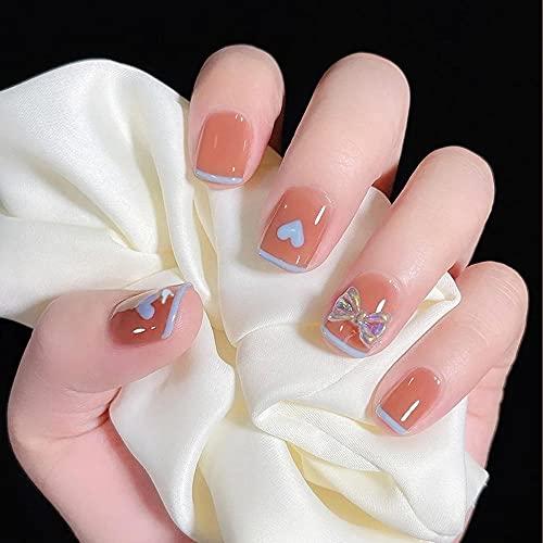 Faux ongles 24pcs Blue Love Bow Faux Ongles Couverture Complète Faux Ongles DIY Manucure Nail Art Outils