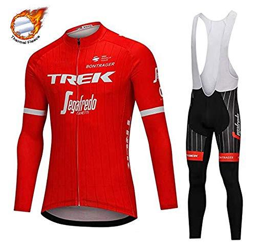 CHHBS Maglia Manica Lunga+Pantaloni Lunghi Set Uomo,Abbigliamento Ciclism Invernale,Magliette Sportivo per Bicicletta+Maglia Bib Pantaloni Lunghi (Rosso, XL)