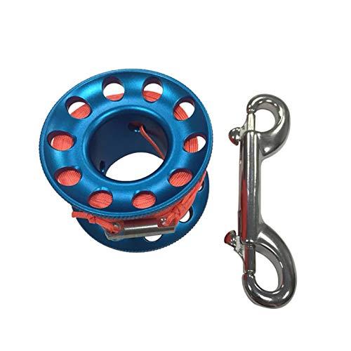 GeKLok Tragbare Fingerspule zum Tauchen, Spule, mit Schnappverschluss für Unterwasserhöhle, Drift Tauchen, mit 15/30 m Schnur (blau, Größe: 30 m)