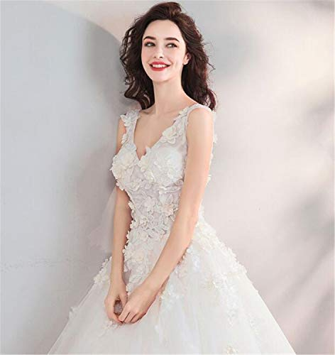 LYJFSZ-7 Hochzeitskleid,Elegante Romantische Blumen-Fee-reizvolle Göttin-tiefer V-Ansatz Braut, Der Weiß Brautkleid No.74214