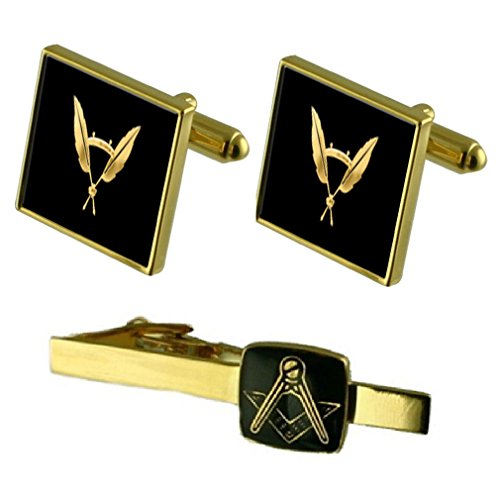 Sekretär Gold Manschettenknöpfe Masonic Krawattenklammer Box Set