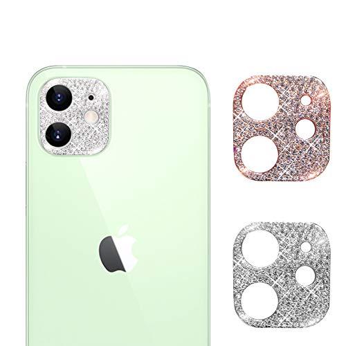 AiMok [2 Pezzi] Bling Pellicola Fotocamera Compatibile con iPhone 12, Diamante Copriobiettivo Anti Graffio Cristallo Protettiva Custodia per iPhone 12 (Argento + Oro Rosa)